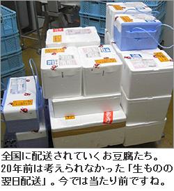 全国に配送されていくお豆腐たち